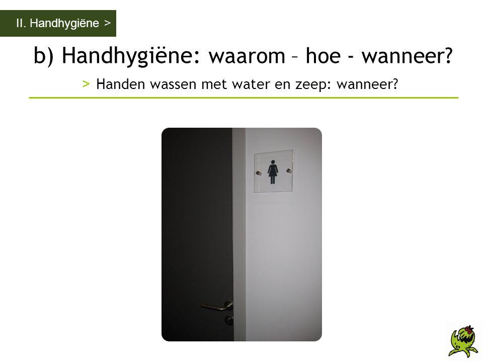 b) Handhygiëne: waarom – hoe - wanneer? > Handen wassen met water en zeep: wanneer? II. Handhygiëne >