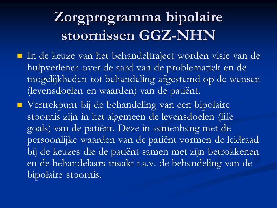 Zorgprogramma bipolaire stoornissen GGZ-NHN   In de keuze van het behandeltraject worden visie van de hulpverlener over de aard van de problematiek