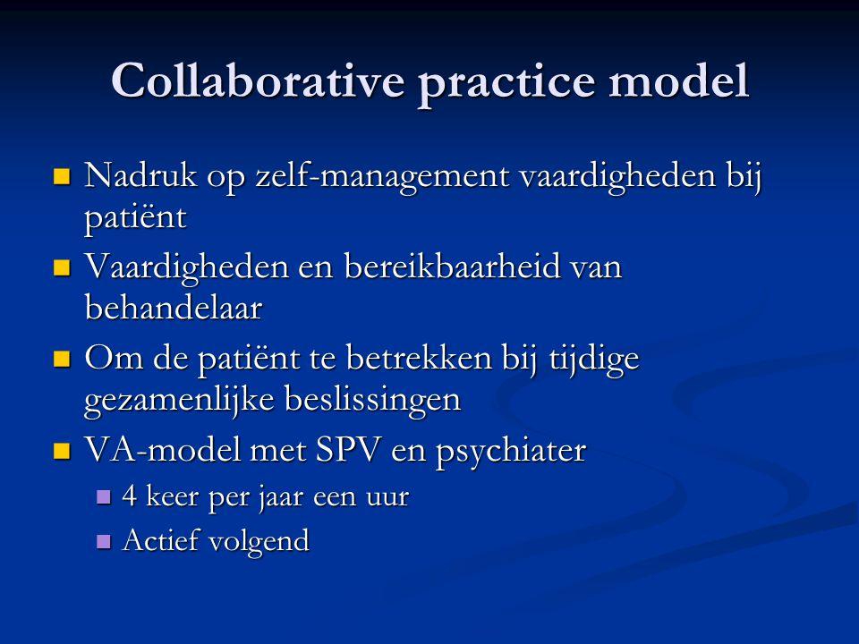 Collaborative practice model  Nadruk op zelf-management vaardigheden bij patiënt  Vaardigheden en bereikbaarheid van behandelaar  Om de patiënt te
