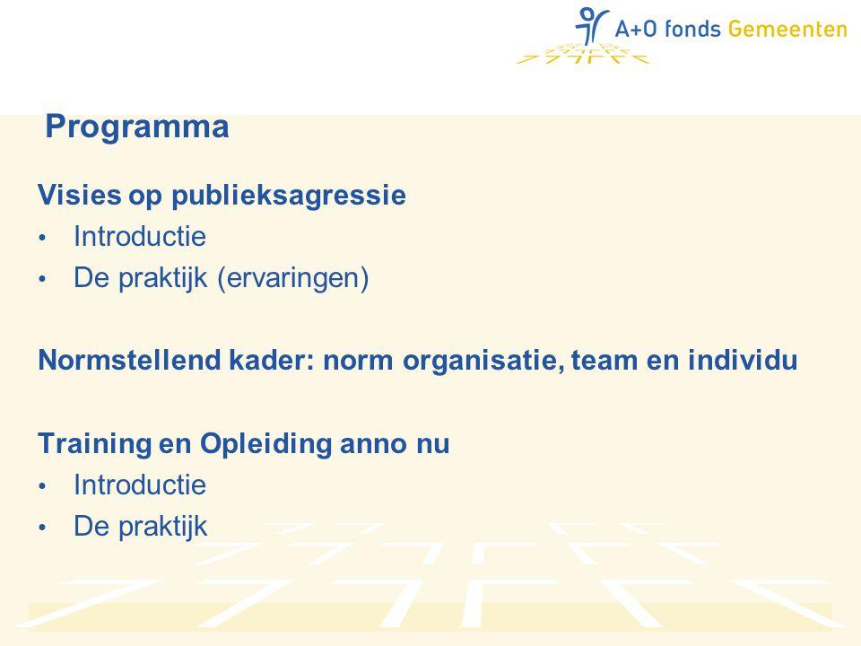 Programma Visies op publieksagressie • Introductie • De praktijk (ervaringen) Normstellend kader: norm organisatie, team en individu Training en Opleiding anno nu • Introductie • De praktijk
