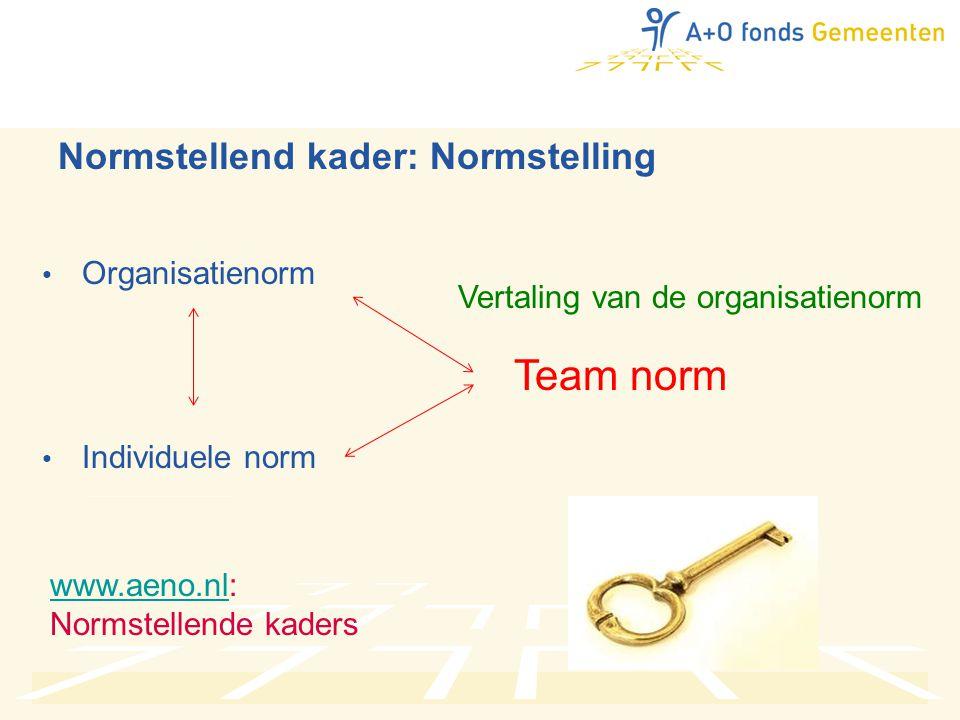 Normstellend kader: Normstelling • Organisatienorm • Individuele norm Team norm Vertaling van de organisatienorm www.aeno.nlwww.aeno.nl: Normstellende kaders