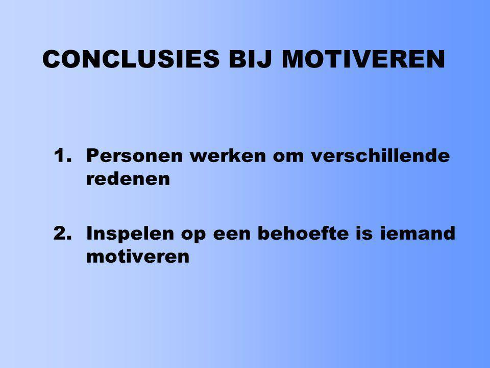 CONCLUSIES BIJ MOTIVEREN 3.