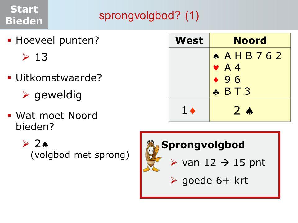 Start Bieden sprongvolgbod? (1) WestNoord  A H B 7 6 2 A 4 9 6 B T 3 11 ? 2   Hoeveel punten?  13  Uitkomstwaarde?  geweldig  Wat moet
