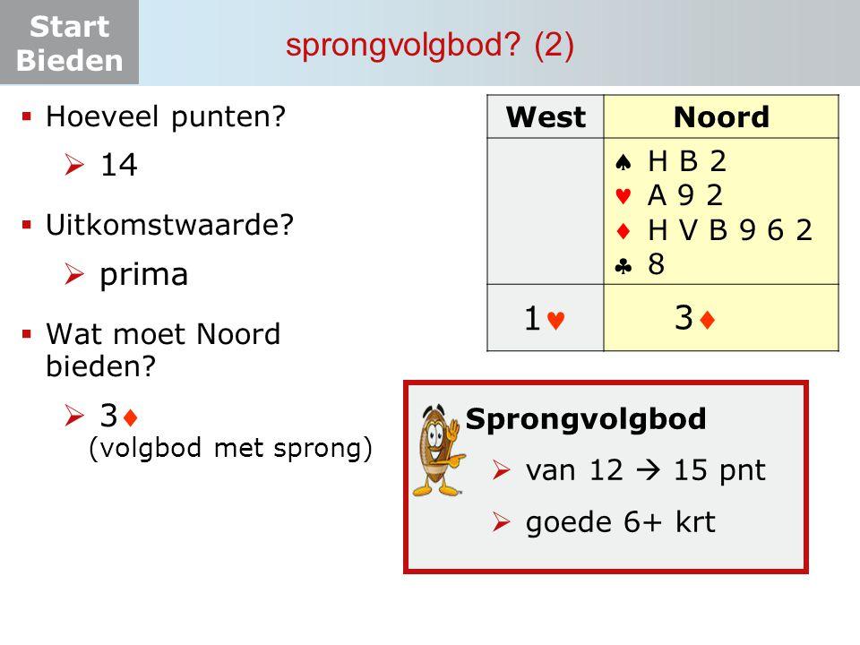 Start Bieden sprongvolgbod? (2) WestNoord  H B 2 A 9 2 H V B 9 6 2 8 11 ? 33  Hoeveel punten?  14  Uitkomstwaarde?  prima  Wat moet N