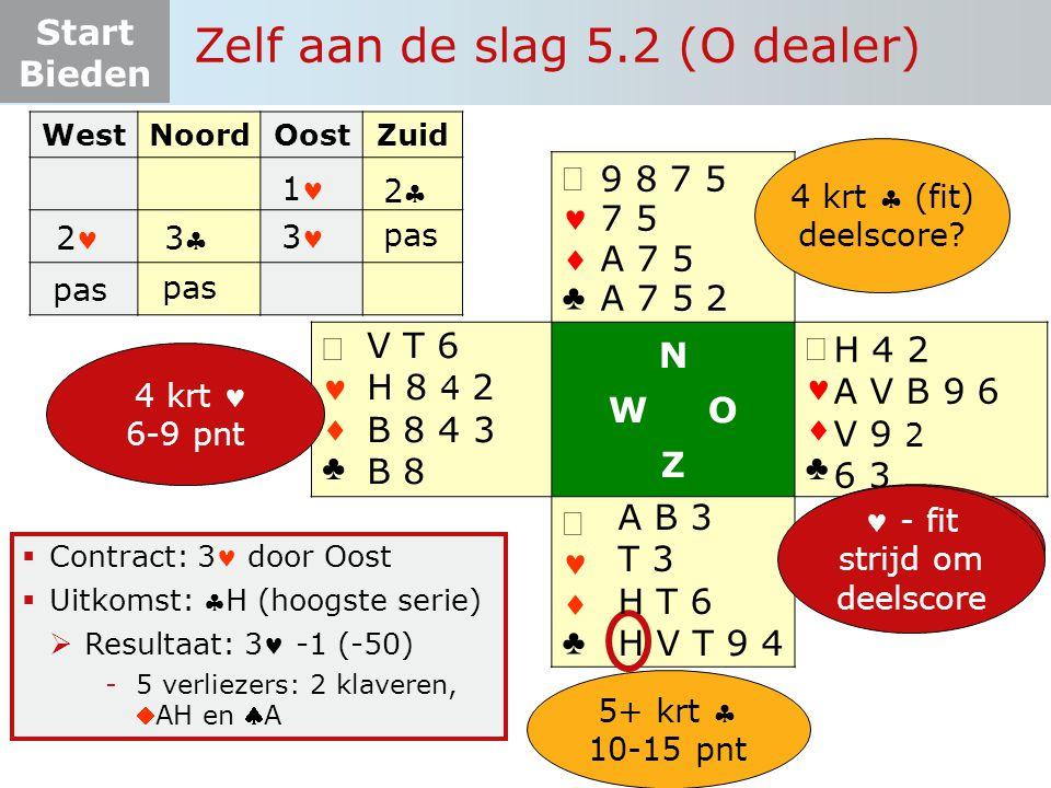 Start Bieden ♣♣ ♣♣ N W O Z ♣♣ ♣♣  Contract: 3 door Oost  Uitkomst: H (hoogste serie)  Resultaat: 3 -1 (-50) -5 verliezer