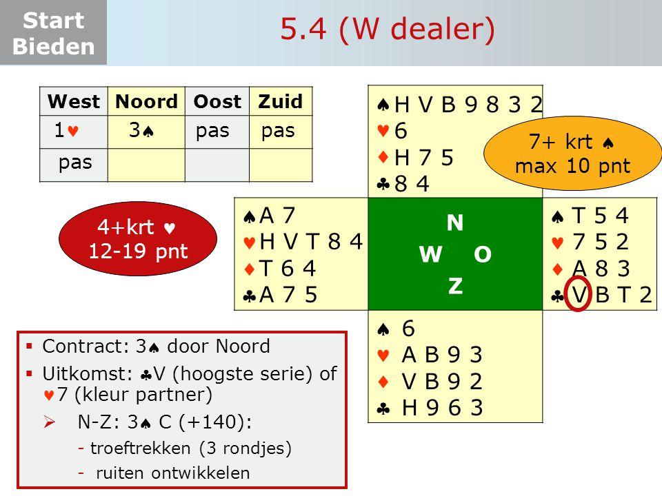 Start Bieden  Contract: 3 door Noord  Uitkomst: V (hoogste serie) of 7 (kleur partner)  N-Z: 3 C (+140): -troeftrekken (3 rondjes) - ruiten ont