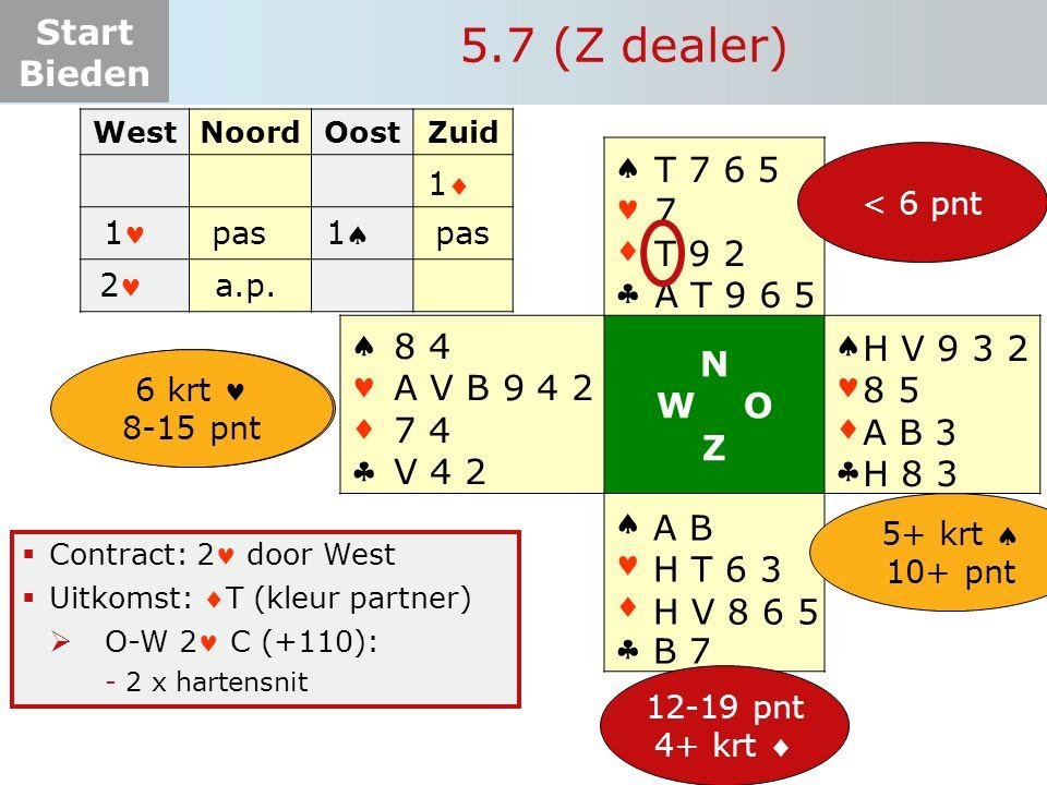 Start Bieden  Contract: 2 door West  Uitkomst: T (kleur partner)  O-W 2 C (+110): -2 x hartensnit 5.7 (Z dealer) WestNoordOostZuid 11 11 pas