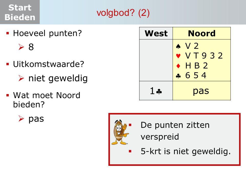 Start Bieden volgbod? (2) WestNoord  V 2 V T 9 3 2 H B 2 6 5 4 11 ? pas  Hoeveel punten?  8  Uitkomstwaarde?  niet geweldig  Wat moet N