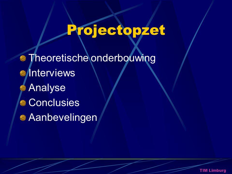 Projectopzet Theoretische onderbouwing Interviews Analyse Conclusies Aanbevelingen TIM Limburg
