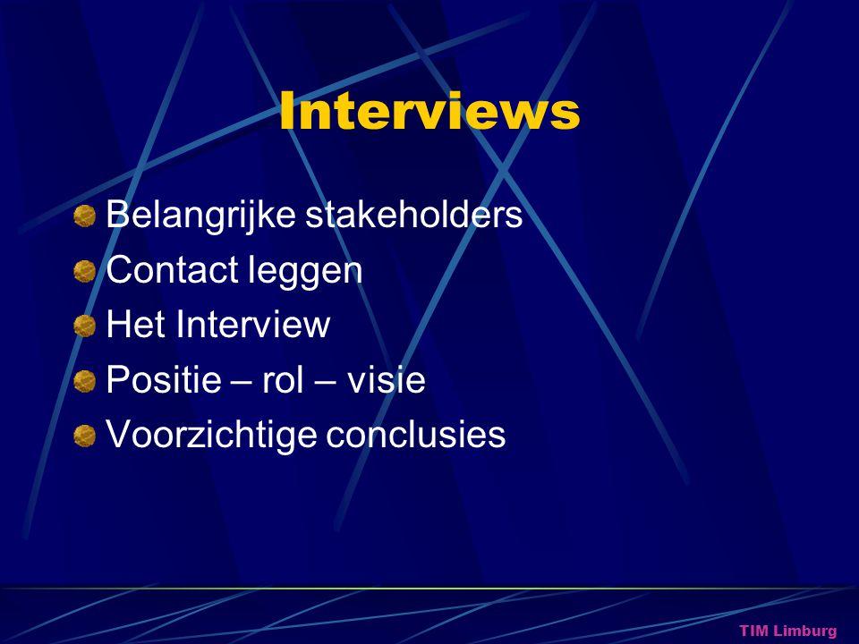Interviews Belangrijke stakeholders Contact leggen Het Interview Positie – rol – visie Voorzichtige conclusies TIM Limburg