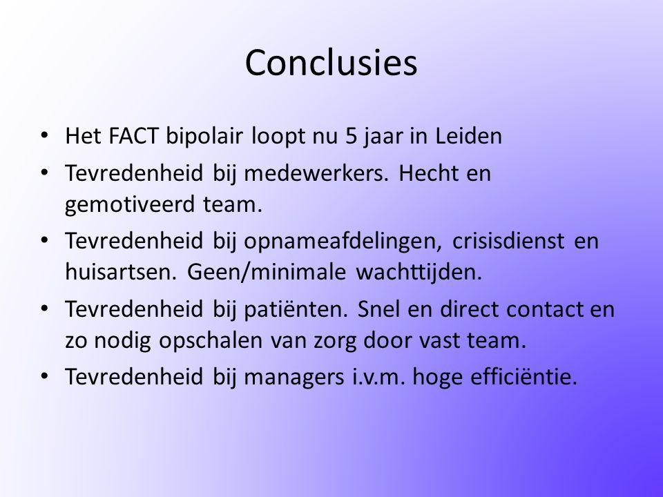 Conclusies • Het FACT bipolair loopt nu 5 jaar in Leiden • Tevredenheid bij medewerkers. Hecht en gemotiveerd team. • Tevredenheid bij opnameafdelinge