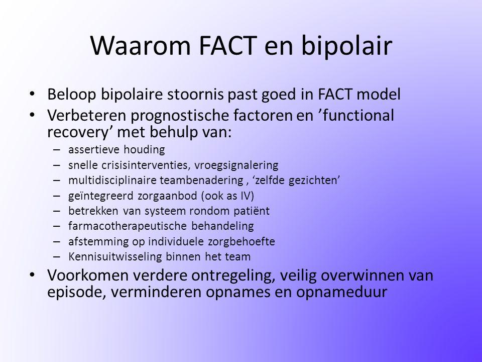 Waarom FACT en bipolair • Beloop bipolaire stoornis past goed in FACT model • Verbeteren prognostische factoren en 'functional recovery' met behulp va