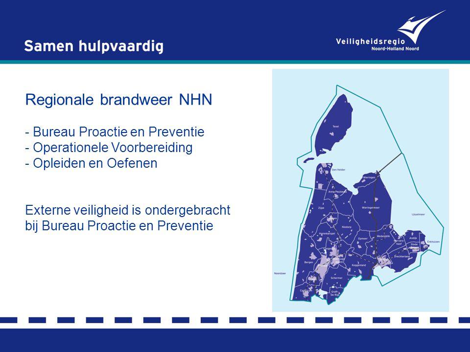Regionale brandweer NHN - Bureau Proactie en Preventie - Operationele Voorbereiding - Opleiden en Oefenen Externe veiligheid is ondergebracht bij Bureau Proactie en Preventie