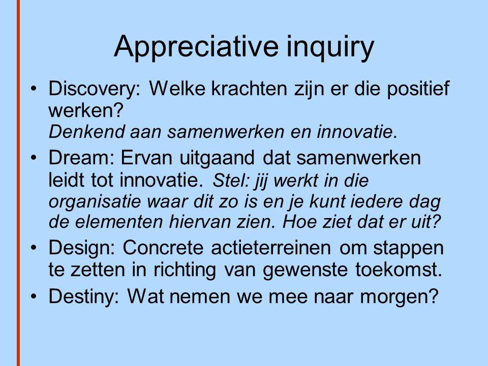 Appreciative inquiry •Discovery: Welke krachten zijn er die positief werken? Denkend aan samenwerken en innovatie. •Dream: Ervan uitgaand dat samenwer