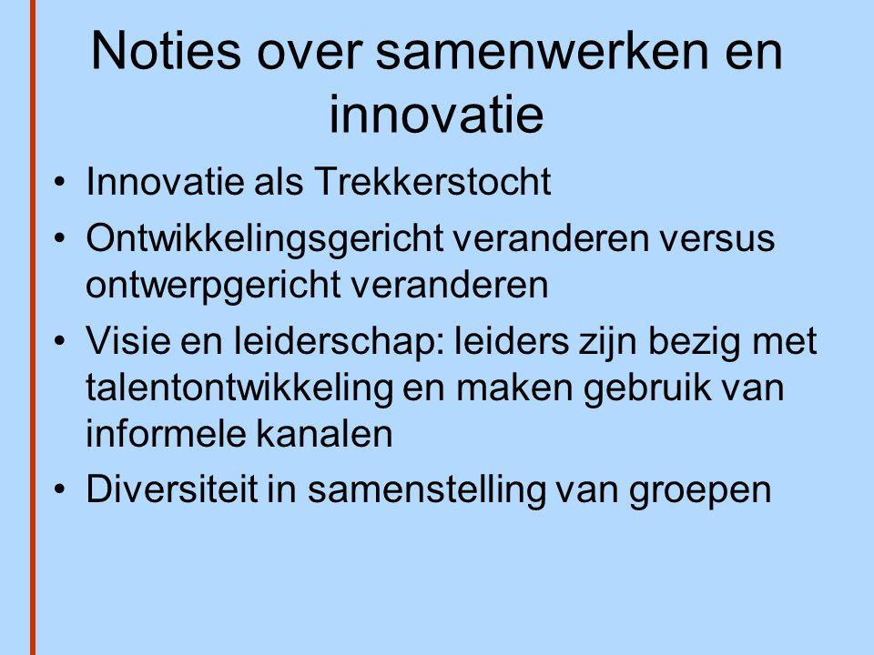 Noties over samenwerken en innovatie •Innovatie als Trekkerstocht •Ontwikkelingsgericht veranderen versus ontwerpgericht veranderen •Visie en leidersc
