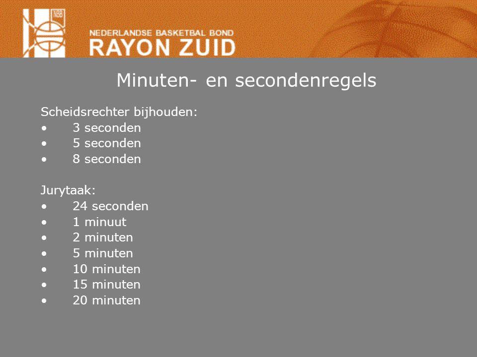 Minuten- en secondenregels Scheidsrechter bijhouden: •3 seconden •5 seconden •8 seconden Jurytaak: •24 seconden •1 minuut •2 minuten •5 minuten •10 mi