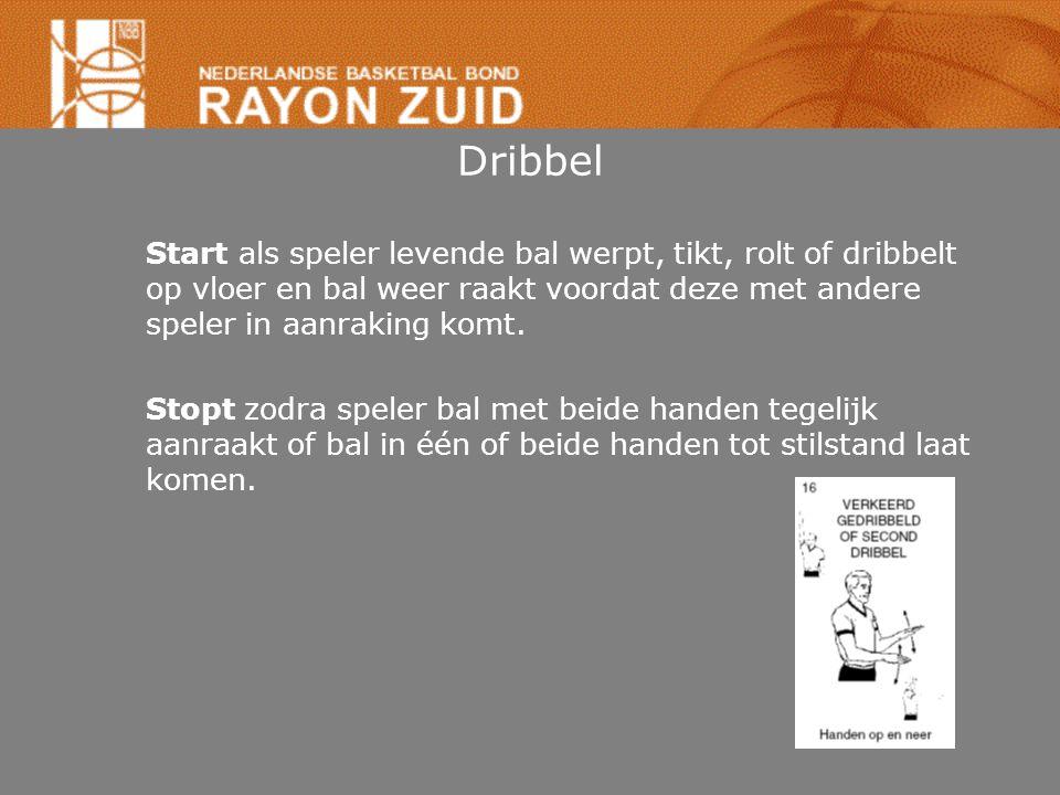Dribbel Start als speler levende bal werpt, tikt, rolt of dribbelt op vloer en bal weer raakt voordat deze met andere speler in aanraking komt. Stopt