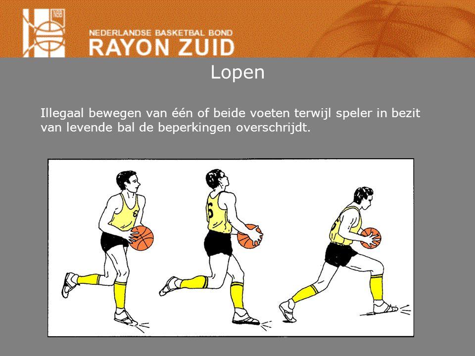 Lopen Speler vangt bal in beweging (of dribbel) tot stilstand komen: •Als één voet vloer raakt: –pivotvoet zo gauw andere voet vloer raakt.
