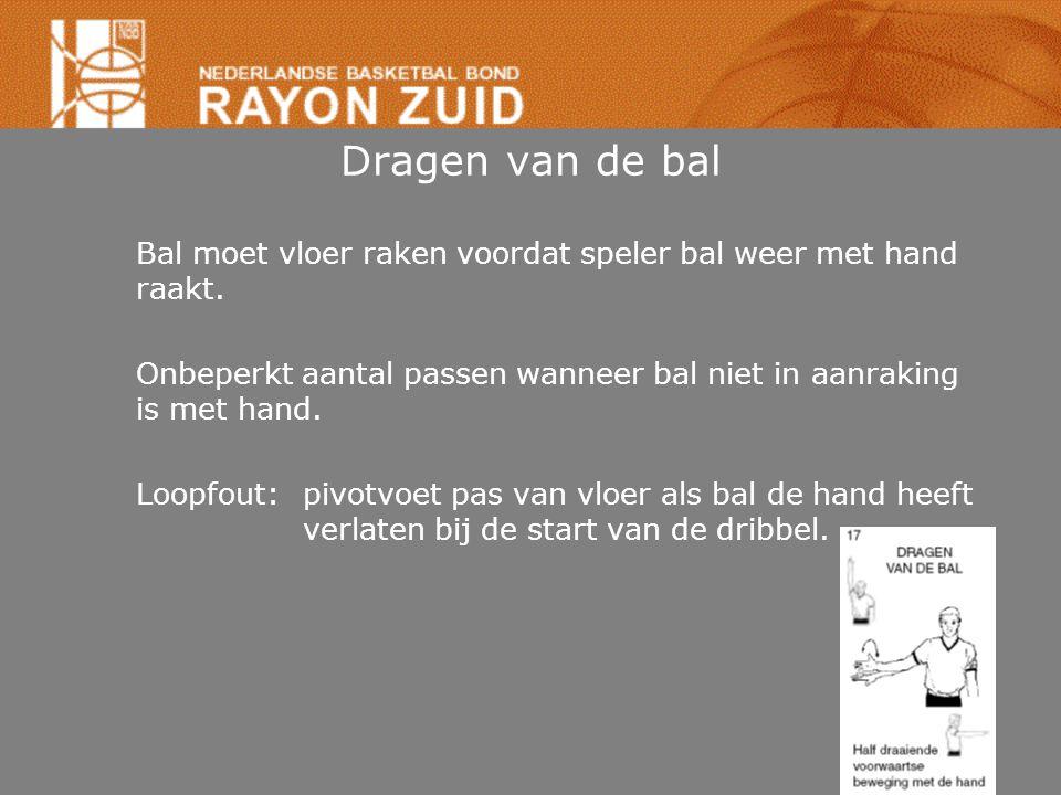 Dragen van de bal Bal moet vloer raken voordat speler bal weer met hand raakt. Onbeperkt aantal passen wanneer bal niet in aanraking is met hand. Loop