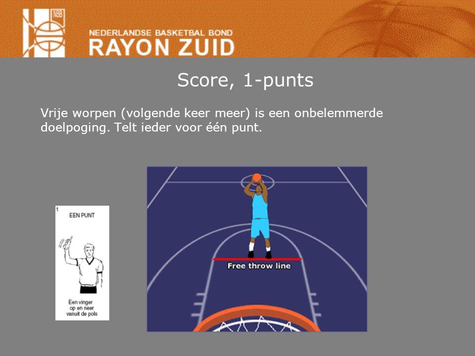 Score, 1-punts Vrije worpen (volgende keer meer) is een onbelemmerde doelpoging. Telt ieder voor één punt.