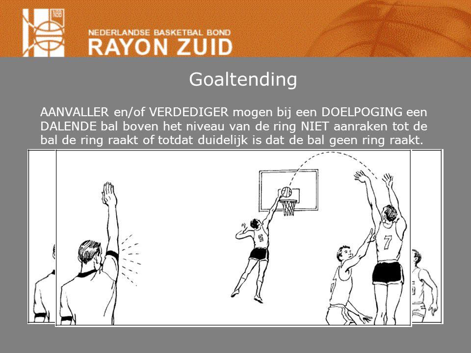 Goaltending AANVALLER en/of VERDEDIGER mogen bij een DOELPOGING een DALENDE bal boven het niveau van de ring NIET aanraken tot de bal de ring raakt of