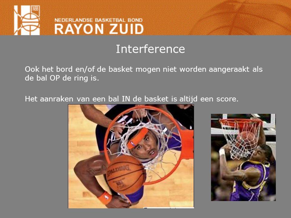 Interference Ook het bord en/of de basket mogen niet worden aangeraakt als de bal OP de ring is. Het aanraken van een bal IN de basket is altijd een s