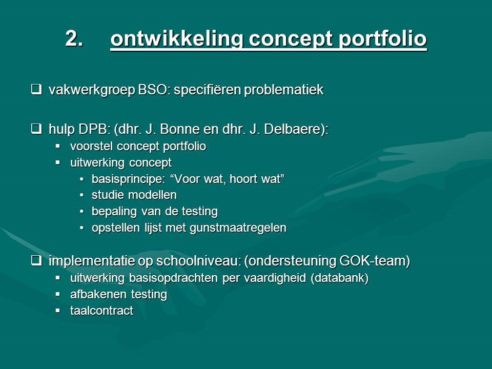 2.ontwikkeling concept portfolio  vakwerkgroep BSO: specifiëren problematiek  hulp DPB: (dhr. J. Bonne en dhr. J. Delbaere):  voorstel concept port