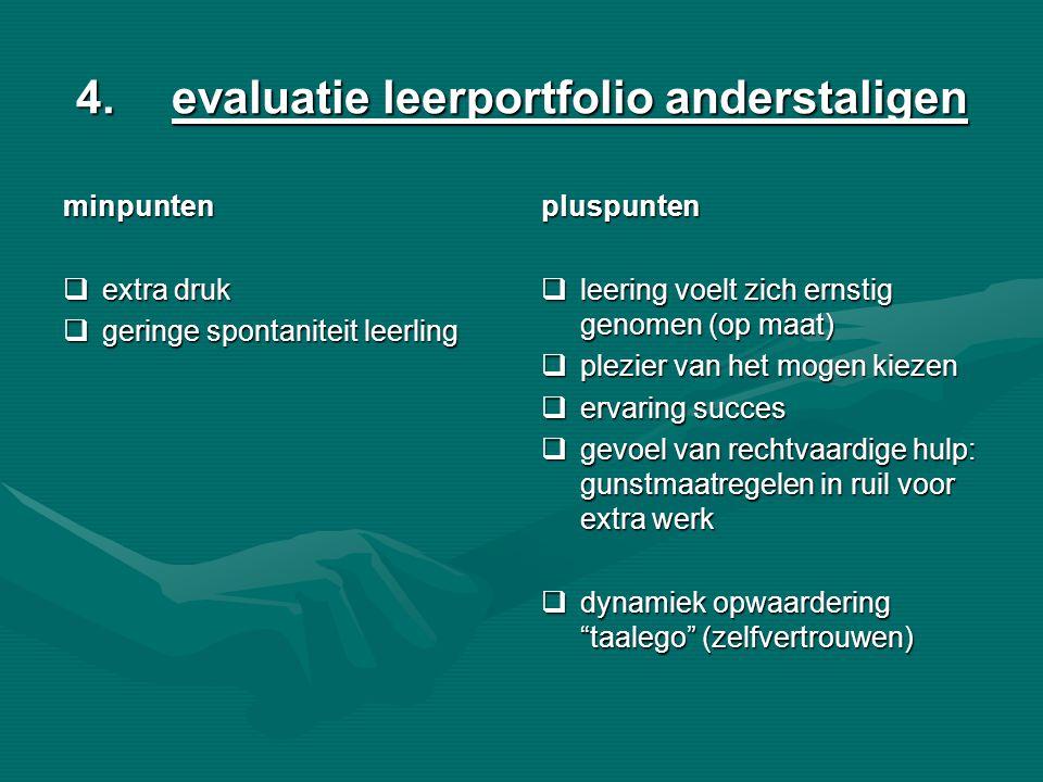 4.evaluatie leerportfolio anderstaligen minpunten  extra druk  geringe spontaniteit leerling pluspunten  leering voelt zich ernstig genomen (op maa