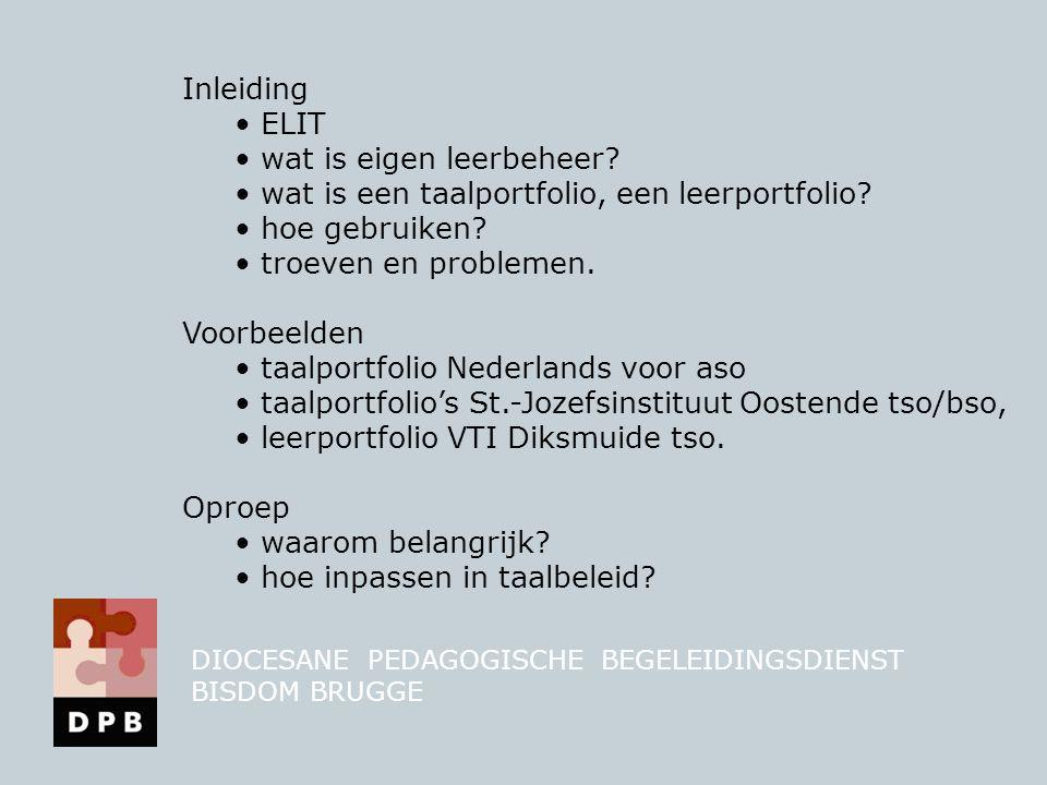 2.ontwikkeling concept portfolio  vakwerkgroep BSO: specifiëren problematiek  hulp DPB: (dhr.