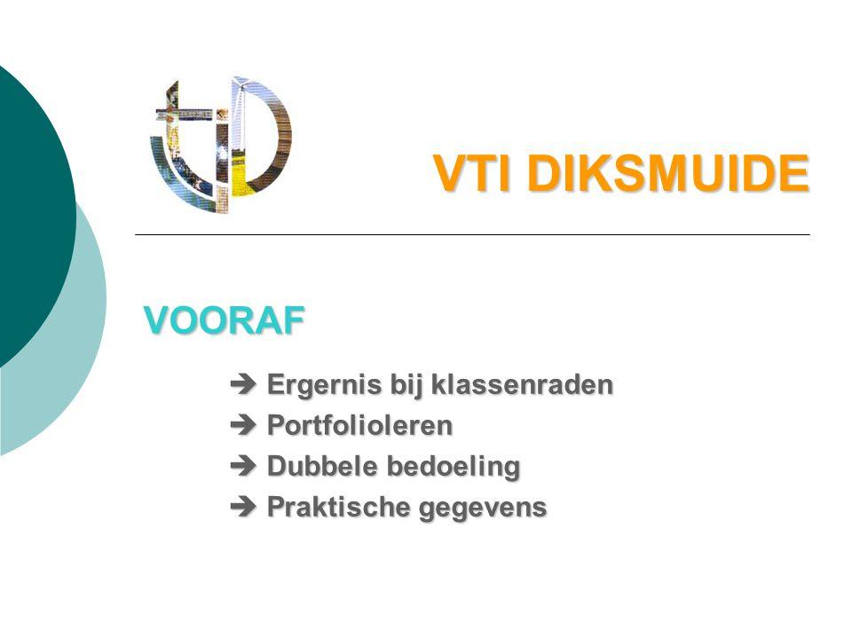 VTI DIKSMUIDE VOORAF  Ergernis bij klassenraden  Portfolioleren  Dubbele bedoeling  Praktische gegevens