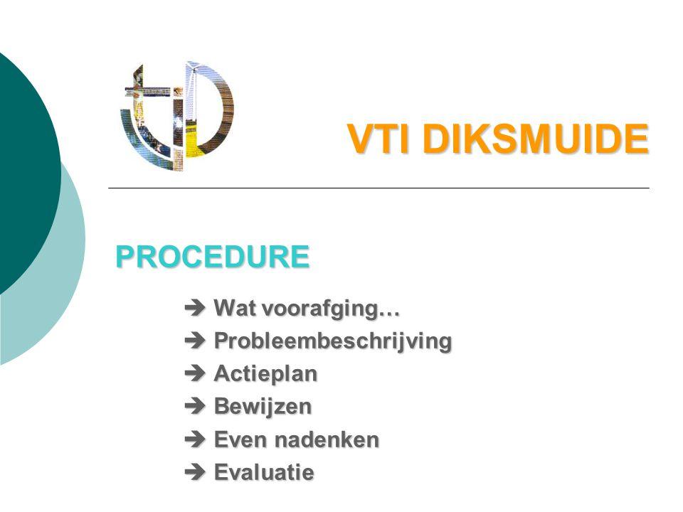 VTI DIKSMUIDE PROCEDURE  Wat voorafging…  Probleembeschrijving  Actieplan  Bewijzen  Even nadenken  Evaluatie