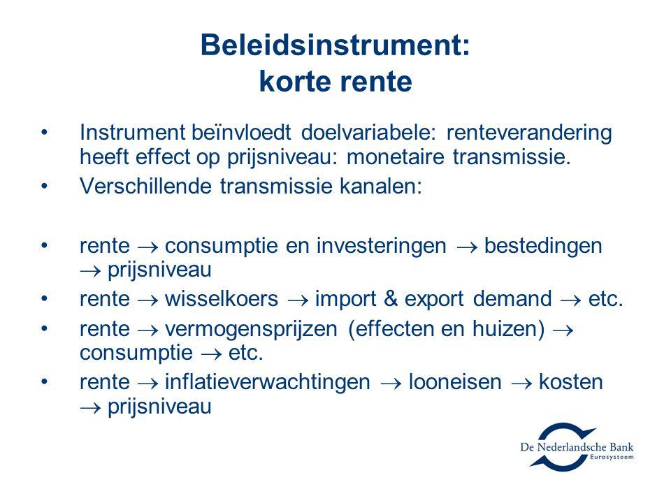 Beleidsinstrument: korte rente •Instrument beïnvloedt doelvariabele: renteverandering heeft effect op prijsniveau: monetaire transmissie. •Verschillen