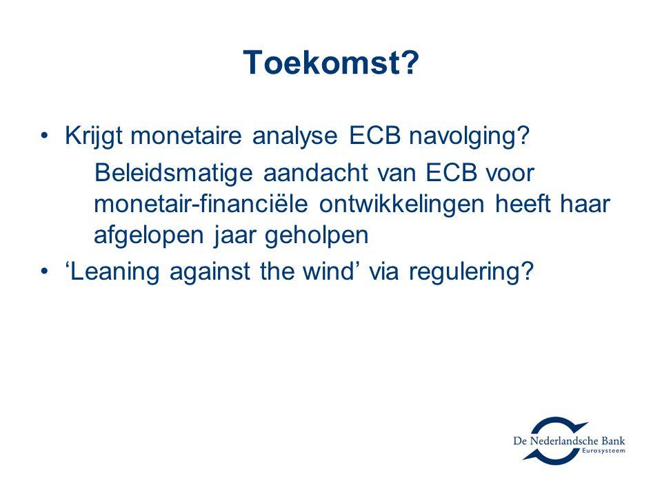 Toekomst? •Krijgt monetaire analyse ECB navolging? Beleidsmatige aandacht van ECB voor monetair-financiële ontwikkelingen heeft haar afgelopen jaar ge