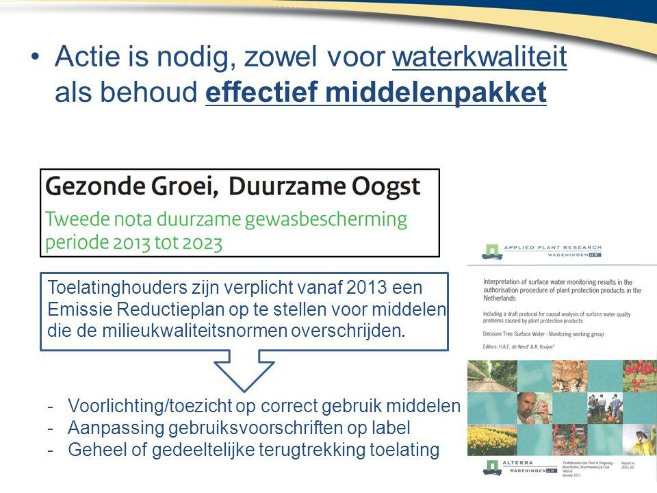 •Actie is nodig, zowel voor waterkwaliteit als behoud effectief middelenpakket Toelatinghouders zijn verplicht vanaf 2013 een Emissie Reductieplan op te stellen voor middelen die de milieukwaliteitsnormen overschrijden.