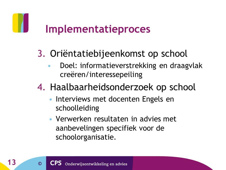 Implementatieproces 3.Oriëntatiebijeenkomst op school •Doel: informatieverstrekking en draagvlak creëren/interessepeiling 4.Haalbaarheidsonderzoek op