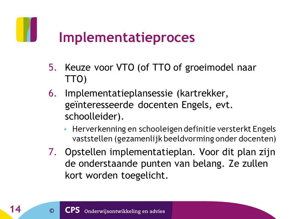 Implementatieproces 5.Keuze voor VTO (of TTO of groeimodel naar TTO) 6.Implementatieplansessie (kartrekker, geïnteresseerde docenten Engels, evt. scho