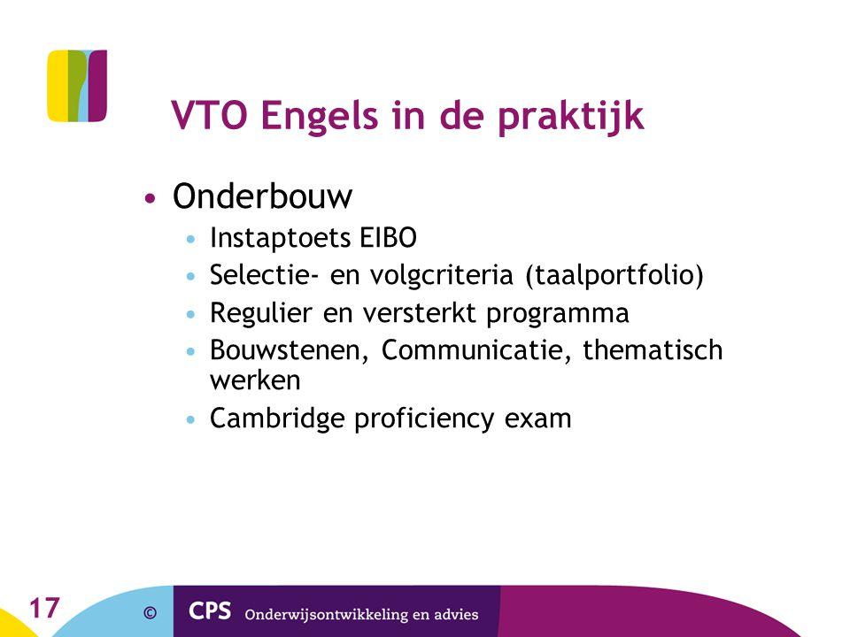 VTO Engels in de praktijk •Onderbouw •Instaptoets EIBO •Selectie- en volgcriteria (taalportfolio) •Regulier en versterkt programma •Bouwstenen, Commun