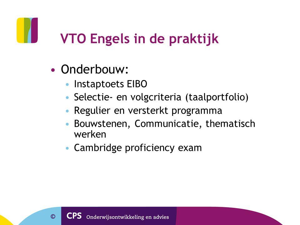 VTO Engels in de praktijk •Onderbouw: •Instaptoets EIBO •Selectie- en volgcriteria (taalportfolio) •Regulier en versterkt programma •Bouwstenen, Commu