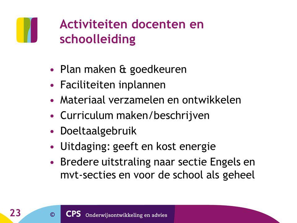 23 Activiteiten docenten en schoolleiding •Plan maken & goedkeuren •Faciliteiten inplannen •Materiaal verzamelen en ontwikkelen •Curriculum maken/besc