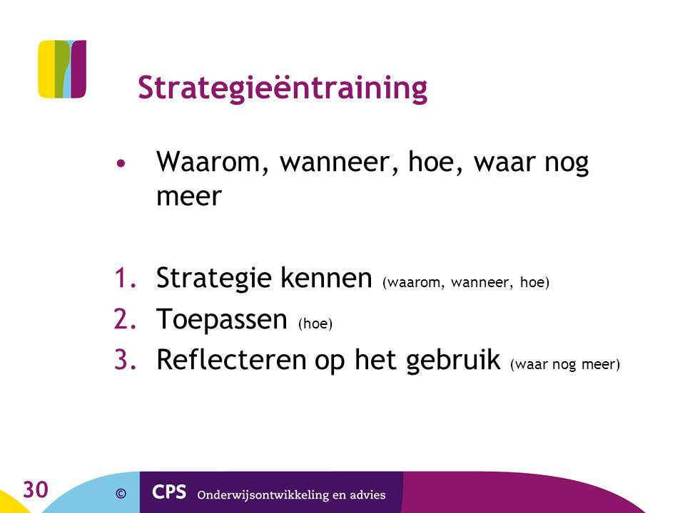 30 Strategieëntraining •Waarom, wanneer, hoe, waar nog meer 1.Strategie kennen (waarom, wanneer, hoe) 2.Toepassen (hoe) 3.Reflecteren op het gebruik (waar nog meer)