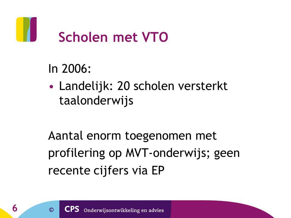 6 Scholen met VTO In 2006: •Landelijk: 20 scholen versterkt taalonderwijs Aantal enorm toegenomen met profilering op MVT-onderwijs; geen recente cijfe