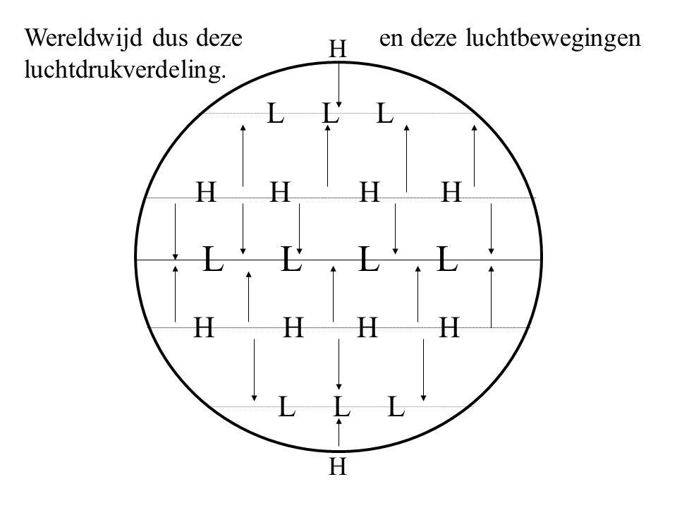 L L H H H H H H L L L H H Wereldwijd dus deze luchtdrukverdeling. en deze luchtbewegingen