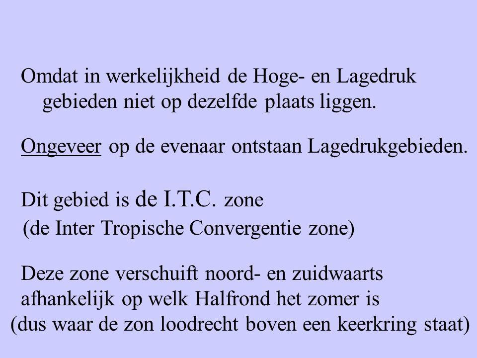 Omdat in werkelijkheid de Hoge- en Lagedruk gebieden niet op dezelfde plaats liggen.