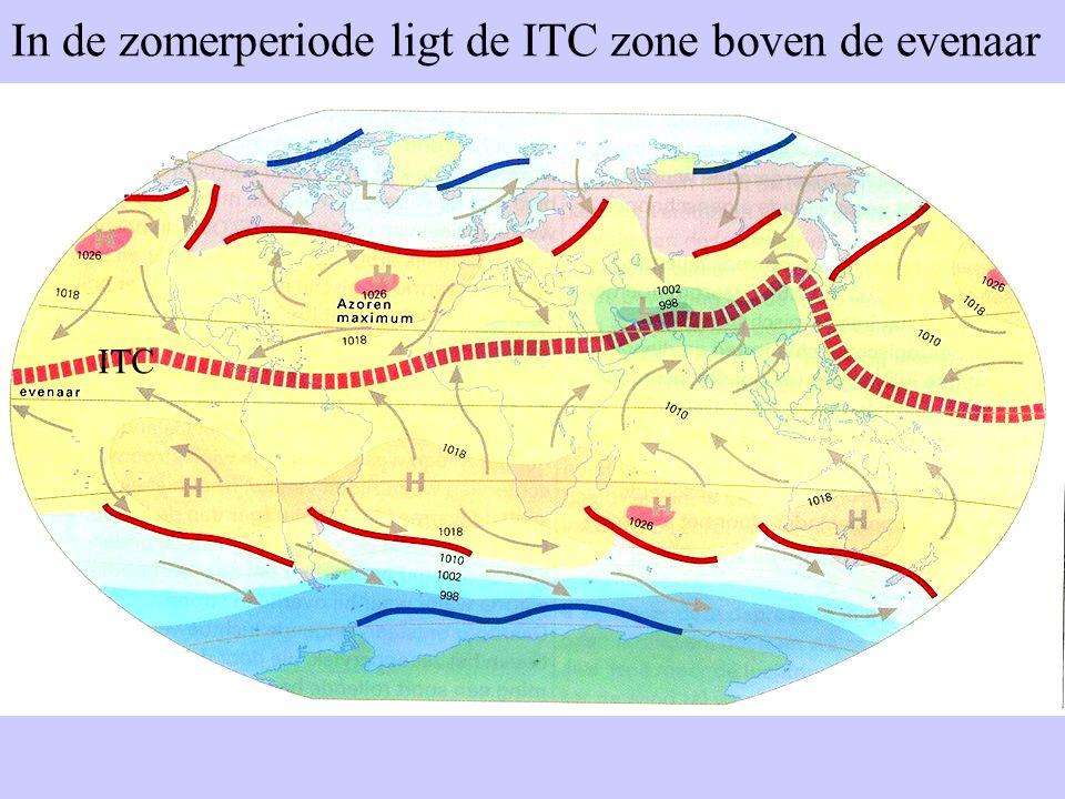 In de zomerperiode ligt de ITC zone boven de evenaar ITC