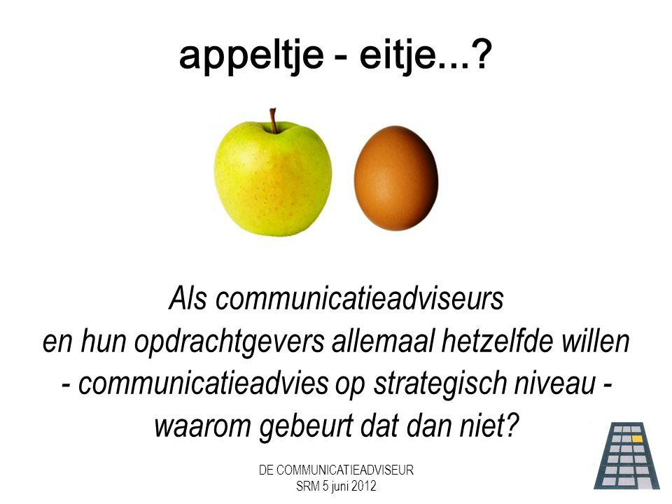 DE COMMUNICATIEADVISEUR SRM 5 juni 2012 appeltje - eitje....