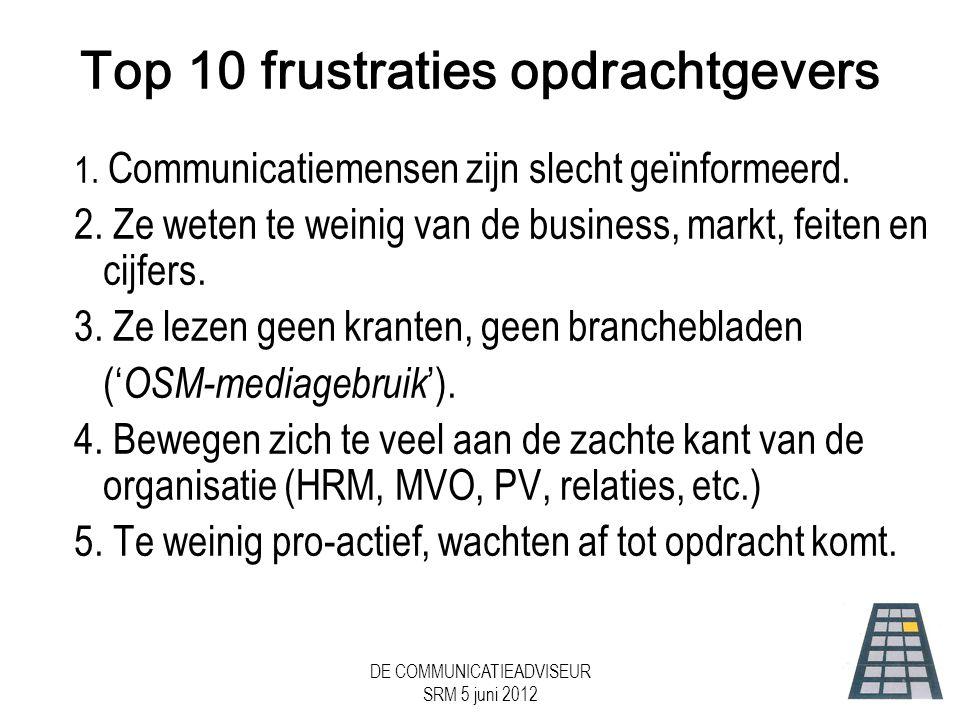 DE COMMUNICATIEADVISEUR SRM 5 juni 2012 Top 10 frustraties opdrachtgevers 1.