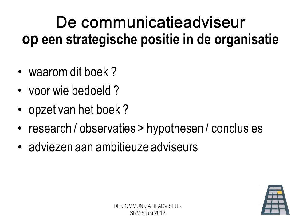 DE COMMUNICATIEADVISEUR SRM 5 juni 2012 Bijdrage aan Prestatie...