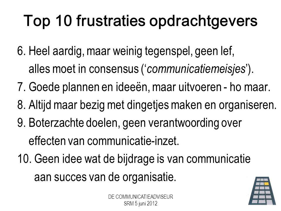 DE COMMUNICATIEADVISEUR SRM 5 juni 2012 Top 10 frustraties opdrachtgevers 6.