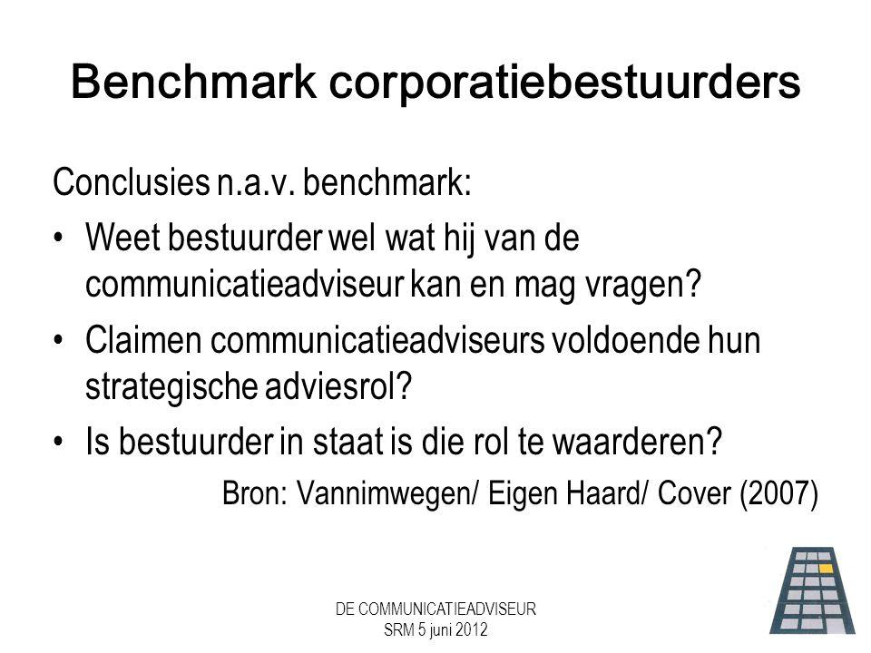 DE COMMUNICATIEADVISEUR SRM 5 juni 2012 Benchmark corporatiebestuurders Conclusies n.a.v.