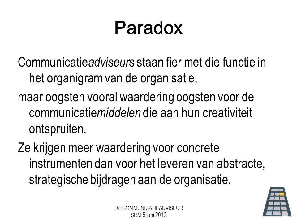 DE COMMUNICATIEADVISEUR SRM 5 juni 2012 Paradox Communicatie adviseurs staan fier met die functie in het organigram van de organisatie, maar oogsten vooral waardering oogsten voor de communicatie middelen die aan hun creativiteit ontspruiten.